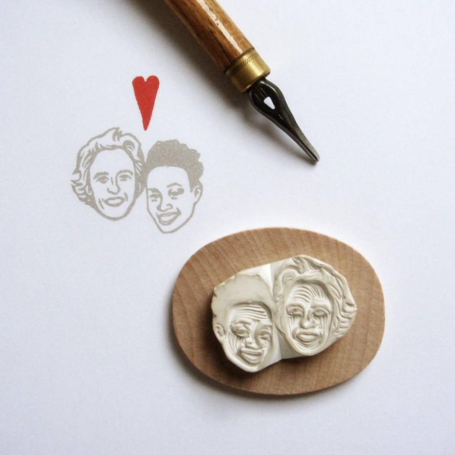 Hand carved stamp custom couple portrait rubber for wedding hand carved stamp custom couple portrait rubber for wedding marriage gift for her thank you return address save the date cards etc negle Gallery
