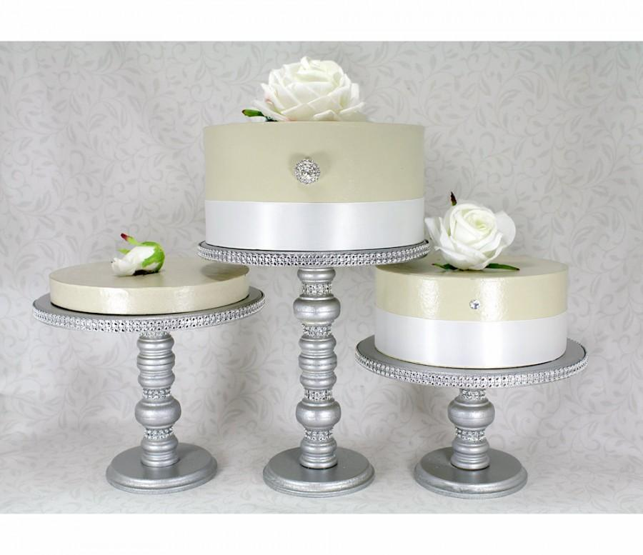 cake stands set round wooden rhinestone party cupcake display wedding