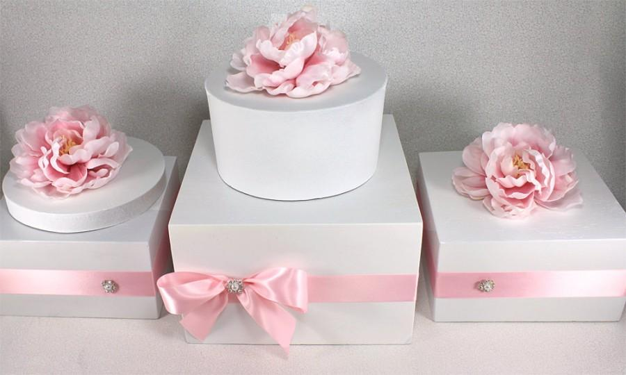 ANY Color Wooden Wedding Cake Stand Box With Rhinestone Pearl Jewel White Pink Cupcake Display Cottage Chic Plate
