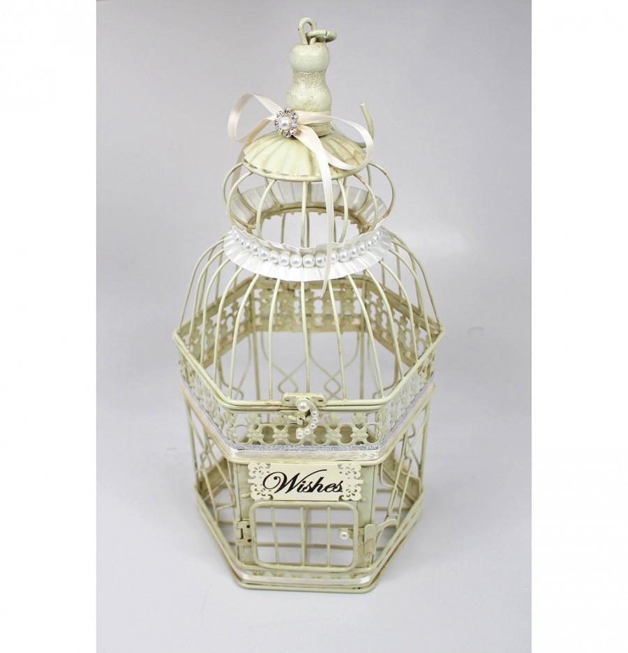 Mariage - Centerpiece, Wishing Well. Wedding Birdcage Centerpiece, Bird Cage Wishing Well. Vintage Ivory, Silver & Pearl. Wedding Advice Box. Wishes.