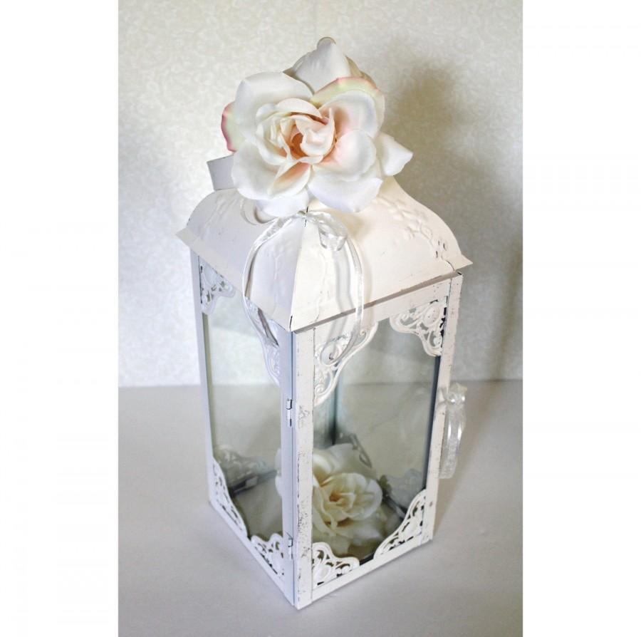 Wedding lantern centerpiece antique white bright ivory