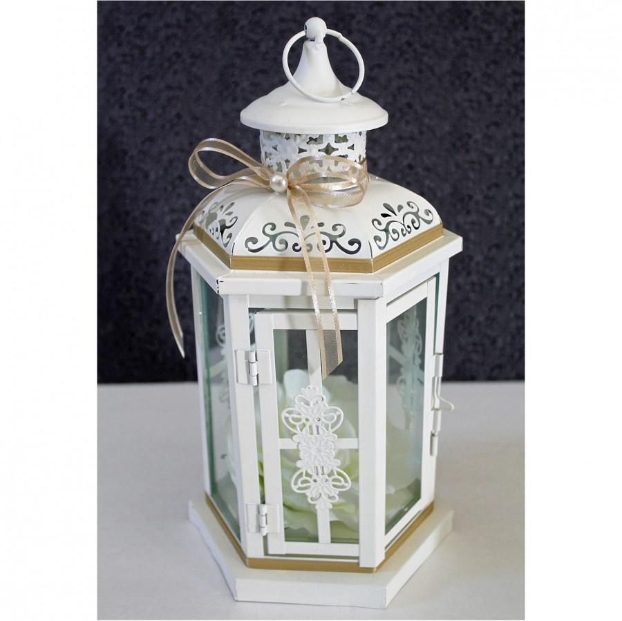 Wedding Lantern Centerpiece Antique White Ivory Finish With Tan