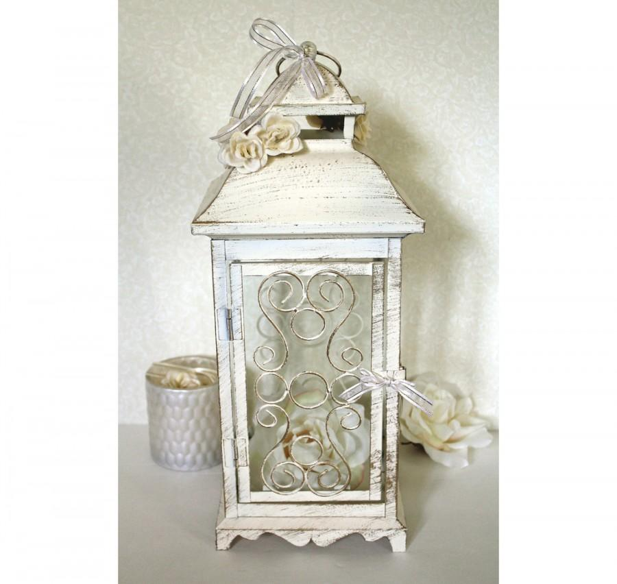 Wedding 16in lantern centerpiece vintage antique ivory for Antique decoration pieces