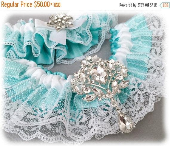 Hochzeit - 25% OFF sale Something Blue Garter Set, Aqua Blue Bridal Garter Set, White Lace Garter Set, Blue Lace Wedding Garter Set, White Garter Set