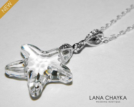 Hochzeit - Starfish Crystal Necklace Beach Wedding Necklace Swarovski Crystal 925 Sterling Silver Starfish Crystal Necklace Bridal Necklace Weddings