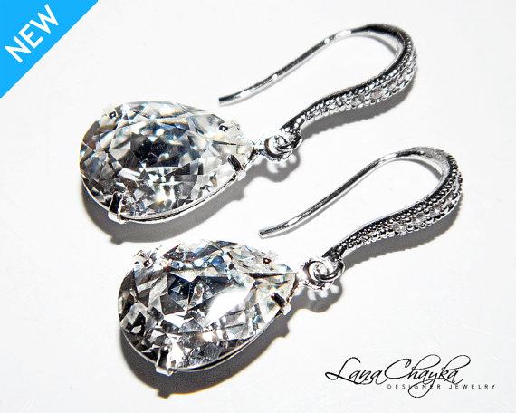 زفاف - Wedding Crystal Earrings Swarovski Rhinestone Bridesmaids Teardrop Earrings Wedding Jewelry Clear Crystal CZ Sterling Silver Bridal Earrings
