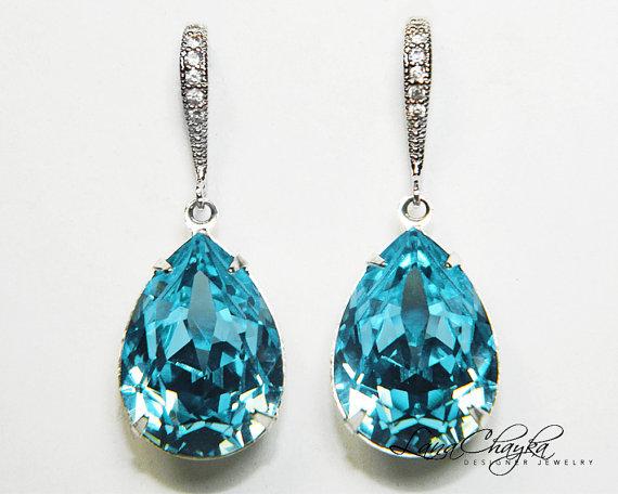 Aqua Blue Crystal Earrings Aquamarine Rhinestone Swarovski Sterling Silver Teardrop Wedding