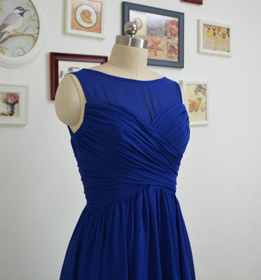 Short royal blue bridesmaid dresses a line chiffon for Royal blue short wedding dresses