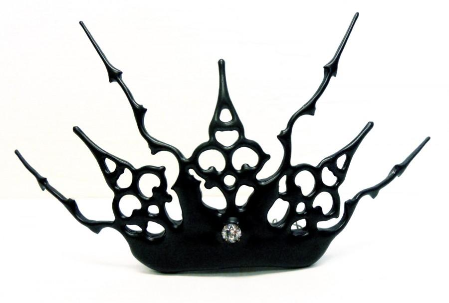 Свадьба - Noir steampunk tiara made with black Clock hands gothic evil queen night circus inspired - The dreamers delight for that elegant goth bride