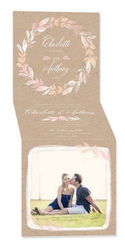 Hochzeit - Captivating Wreath - Signature White Wedding Invitations In Pistachio Or Spanish Red