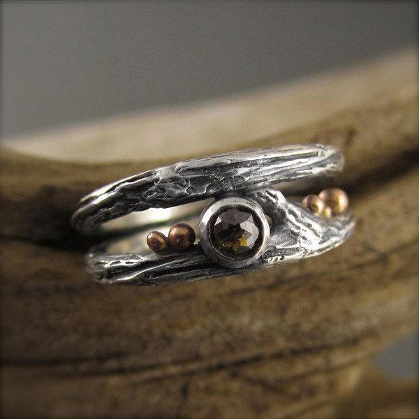 زفاف - Chocolate and Roses Sterling Silver Twig Diamond Engagement Ring