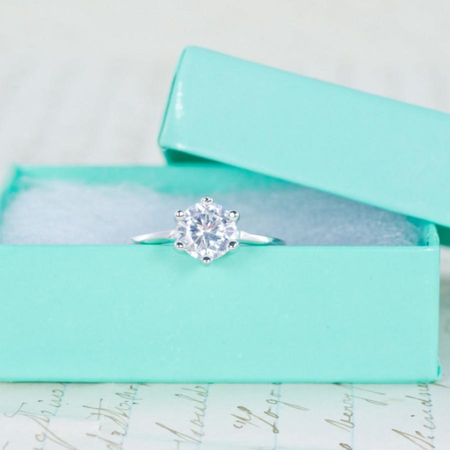 زفاف - SALE - 6 Prong Ring - Solitaire Engagement Ring - Round Cut Wedding Ring - Promise Ring - Purity Ring - 1 Carat - Sterling Silver