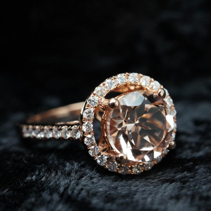 Round Morganite Diamond Halo Rose Gold Engagement Ring Morganite Engagement  Ring Large Halo Engagement Ring 14k