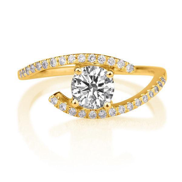 Mariage - Twist Diamond Ring, 14K Gold Engagement Ring, 0.6 TCW Diamond Ring Vintage, Unique Engagement Ring, Art Deco Ring