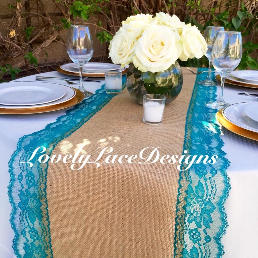 Burlap table runner with teal jade lace 14 wide x 12ft for 12 ft table runner