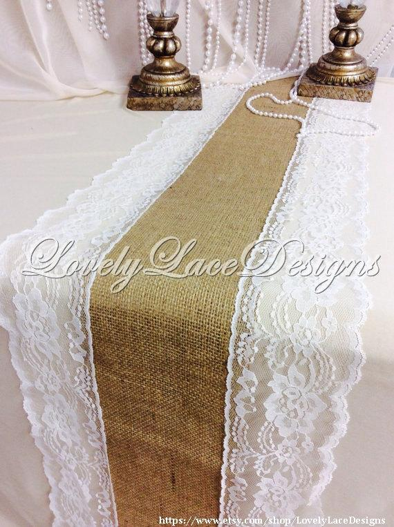 Mariage - Burlap Runner with  Ivory Lace, 30ft x 13in Wide x 10 yds Long, Rustic, Burlap & Lace Wedding Decor