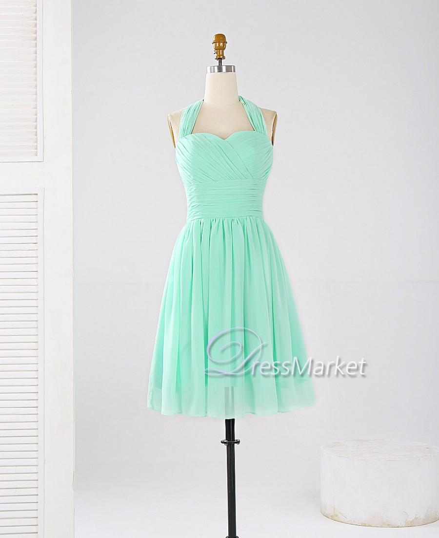 Mint green bridesmaid dresses short flower girl dresses for Short green wedding dresses