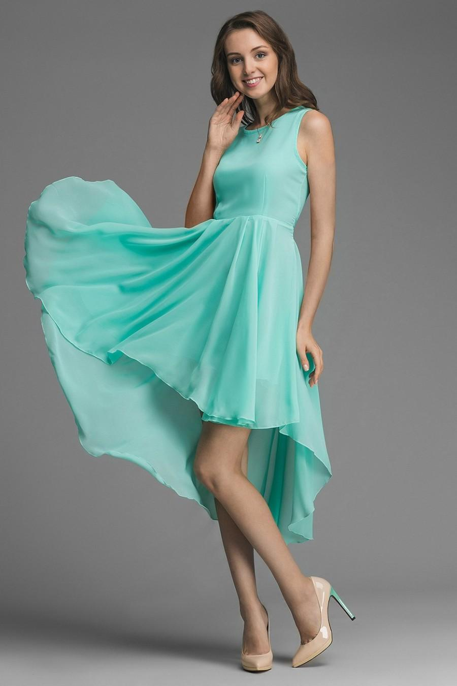 Mint bridesmaid dress mint chiffon dress asymmetrical mint for Mint green wedding dress