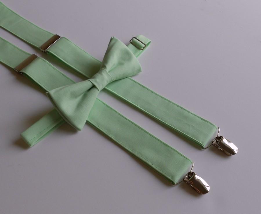 Свадьба - Mint Bowtie and Suspenders Set - Men, Teen, Youth
