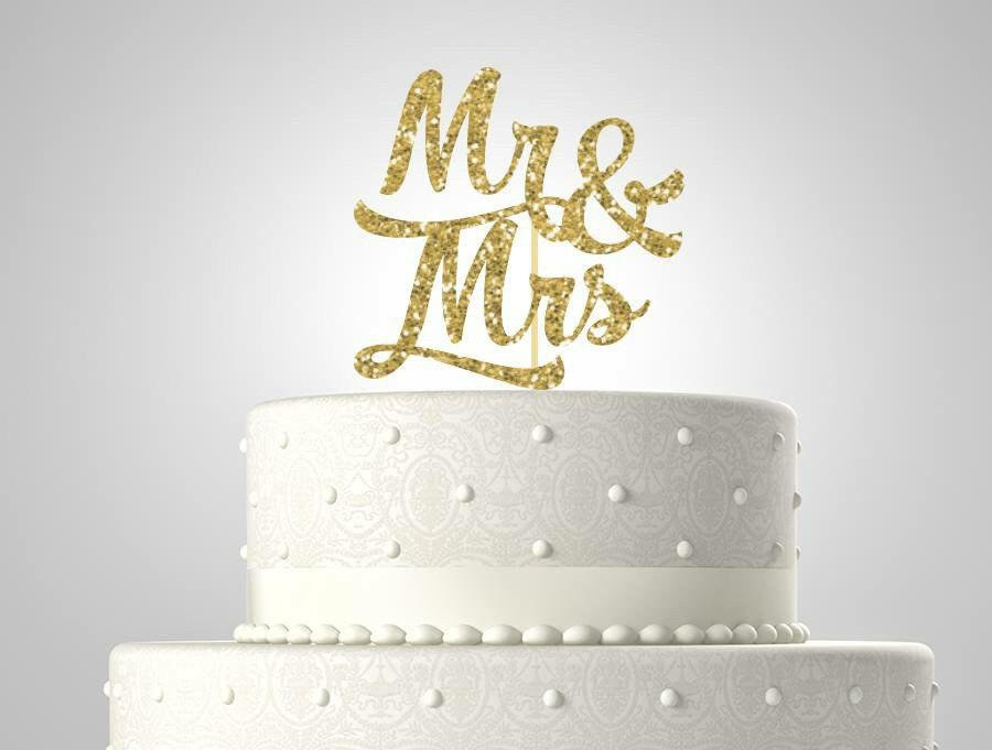 Mariage - Glitter mr and mrs wedding cake topper//glitter cake topper// ships in 1-3 days//your choice of glitter color