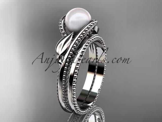 Wedding - Unique platinum leaf and vine pearl engagement set AP301S