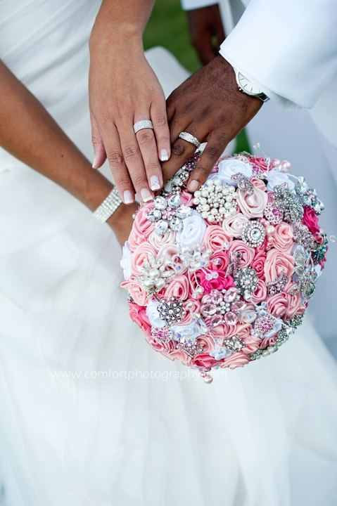 Hochzeit - The Charisse Pink White Satin Brooch Wedding Bouquet