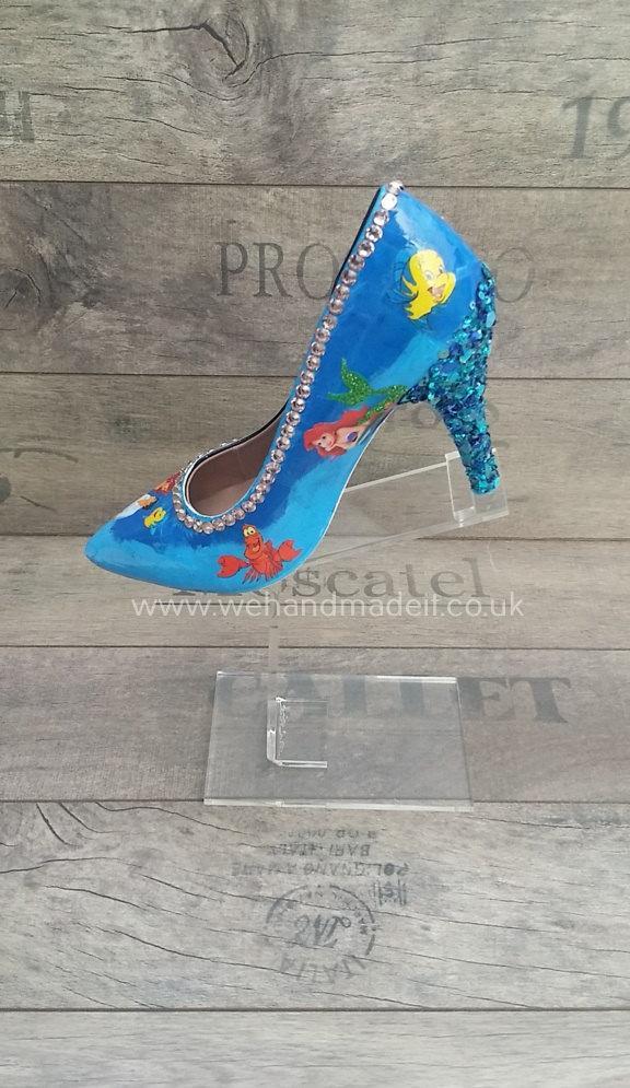 Hochzeit - Custom Disney Little mermaid shoes. Decoupage, paint, glitter, sequins