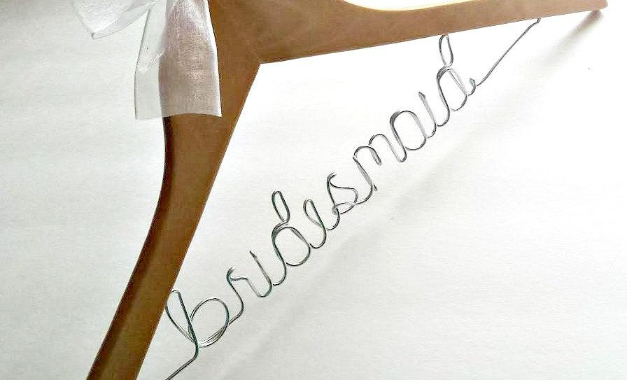 November sale bridesmaid hangers bride hanger wedding for Personalized wedding dress hangers