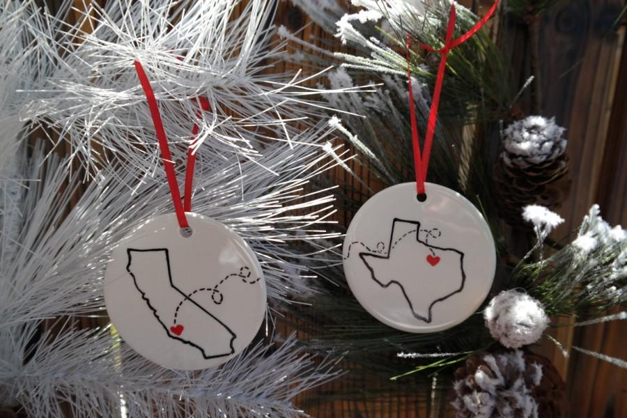 state or country christmas ornament best friends christmas gift moving away away from home long distance relationship army gift - Best Friend Christmas Ornaments