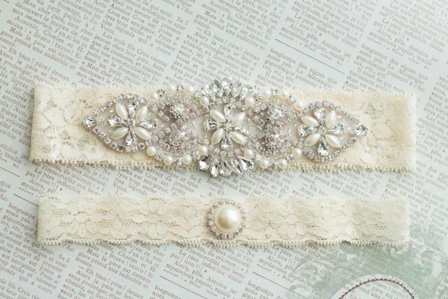Ivory Wedding Garter Set Bridal Stretch Lace Crystal Pearl Vintage Belt