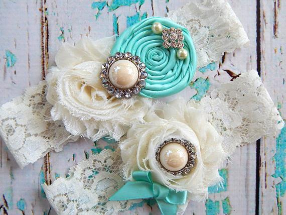 Mariage - Aqua Garter Set / Wedding Garter / Aqua Blue Garter Set / Bridal Garter  / Toss garter / Something Blue Garter
