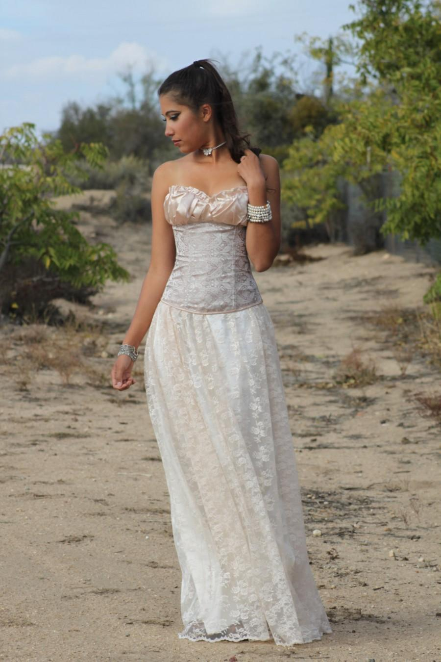 """Wedding - NEW / """"Rose"""" / Champagne Maxi Wedding skirt, Long Skirt, Lace, Made to order,"""