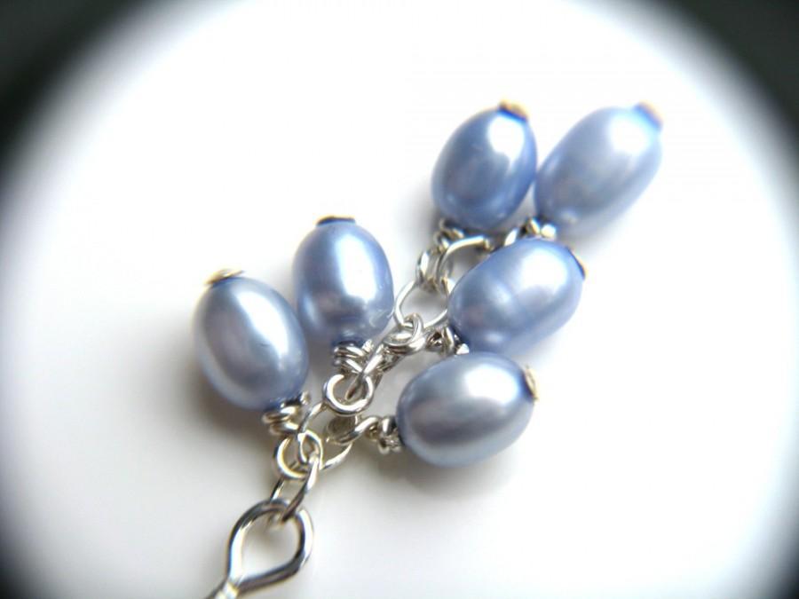زفاف - Something Blue for Bride . Light Blue Cluster Earrings . Blue Bridesmaid Earrings . Freshwater Pearl Cluster Earrings - Melody Collection