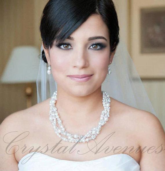 Mariage - Pearl Crystal Bridal Necklace, chunky wedding necklace Swarovski Wedding Rhinestone, Kaylee 3 strand