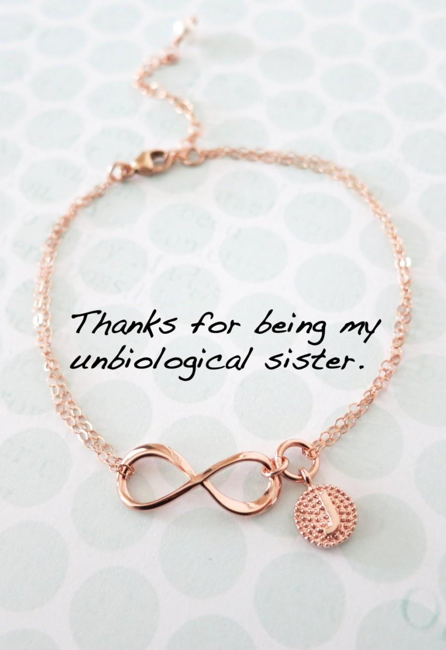 زفاف - Personalized Rose Gold Infinity Bracelet - Infinity charm, rose gold filled, forever love, bridal, bridesmaid, best friends - B0006RG