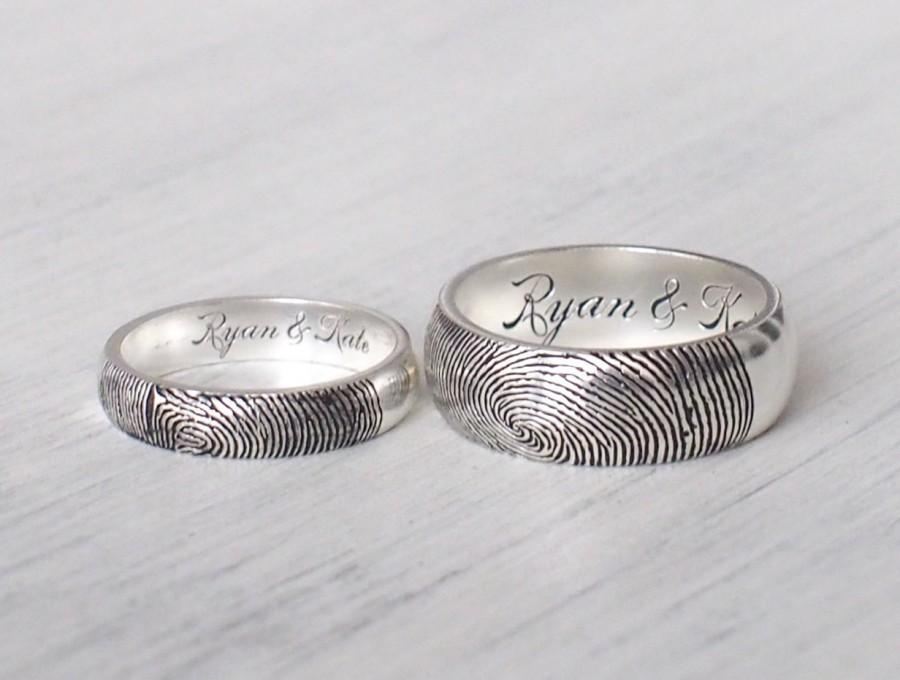 Set Of 2 Actual Fingerprint Rings Personalized Couple Rings