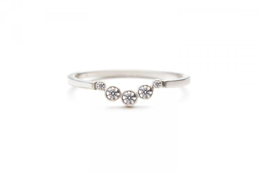 bands five diamonds ring apart stackable space band simple diamond gold media delicate rose wedding