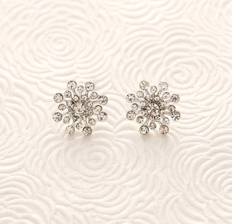 Crystal Snowflake Earrings Winter Wedding Bridal Jewelry Accessories