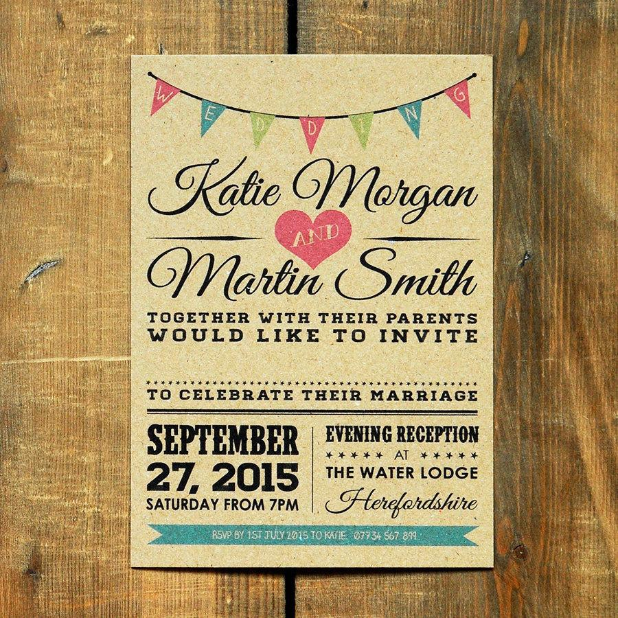 Hochzeit - Vintage Bunting Wedding Invitation Set & Save the Date - Brown Kraft Recycled Card / Vintage / Shabby Chic Festival / Barn / Invite / Rustic