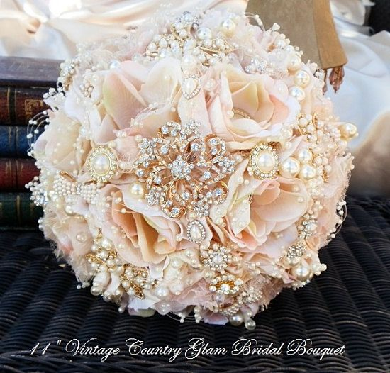 Свадьба - ROSE GOLD Brooch Bouquet- DEPOSIT For Custom Blush Pink And Rose Gold Brooch Bouquet, Rose Gold Bouquet, Pink Bouquet, Full Price 485