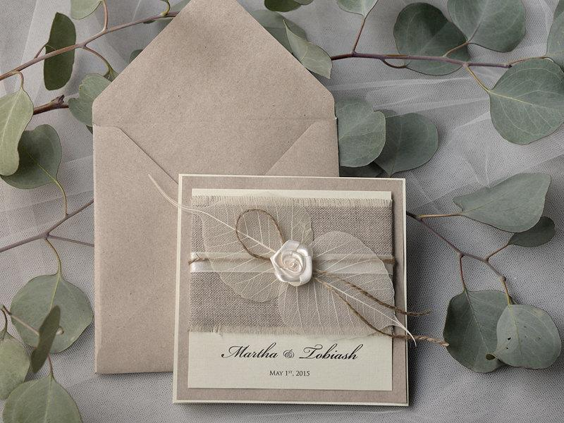 Custom Listing 20 Eco Linen Wedding Invitation Pocket Fold Invitations Twine Rustic
