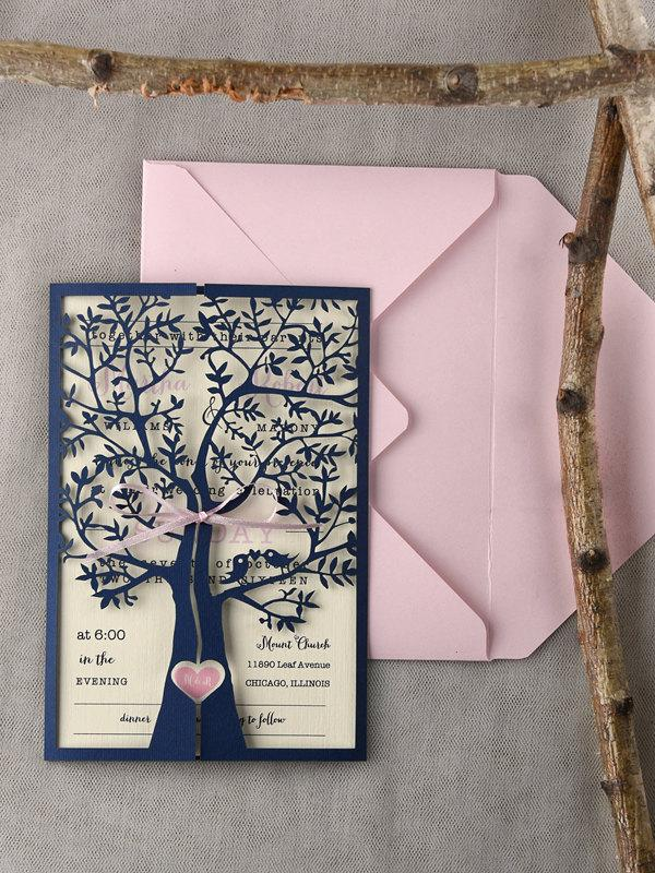 Tree Wedding Invitations (20), Rustic Wedding Invitation, Laser Cut ...