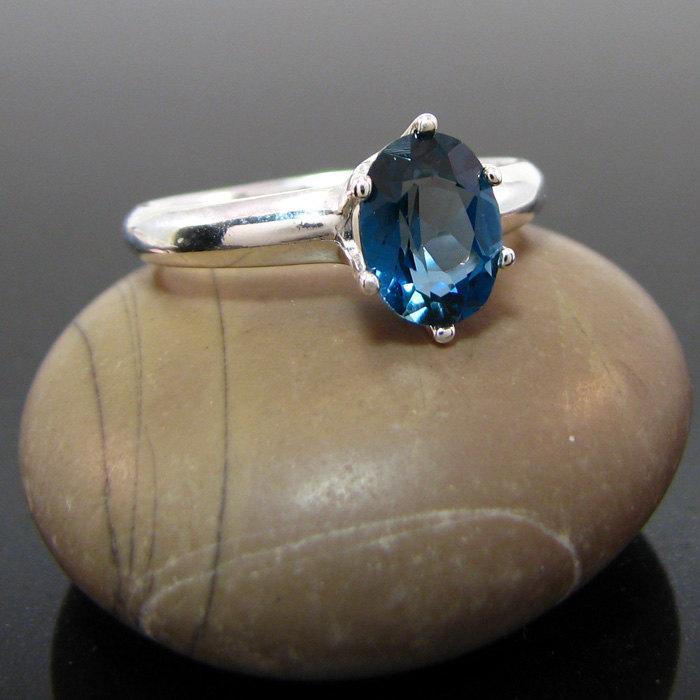 Mariage - London topaz ring, london blue topaz ring - size 7 - london blue ring - blue topaz - topaz ring 8x6 mm, buy one get one free, free earrings