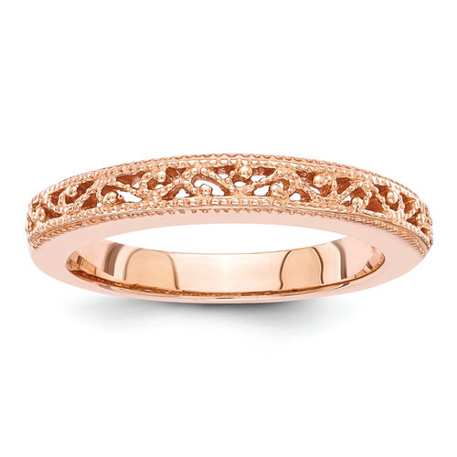 Wedding - 14 Kt Rose gold ladies diamond wedding ring, stackable ring,  rose gold wedding bands