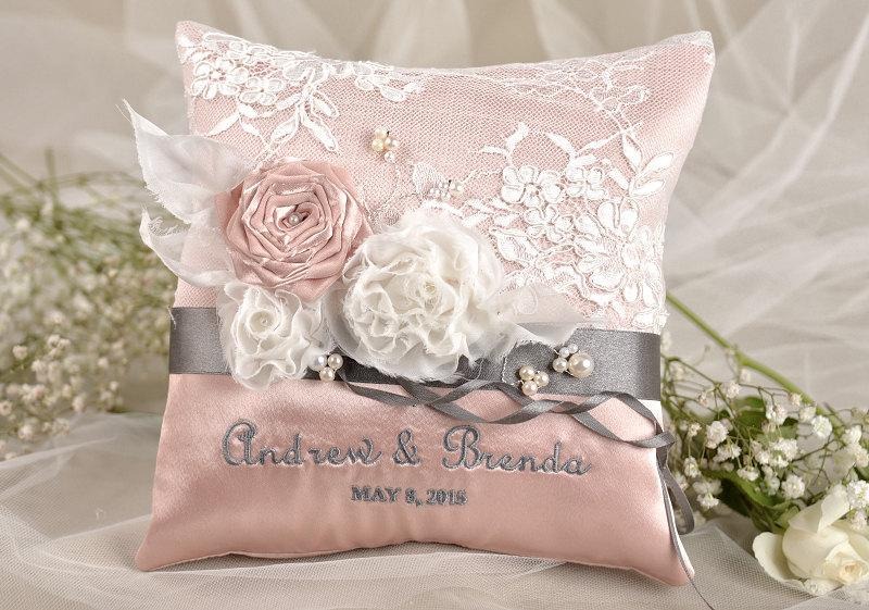 Lace Wedding Pillow Ring Bearer Pillow Embroidery Names Peach Satin Lace Grey Ribbon 2408034