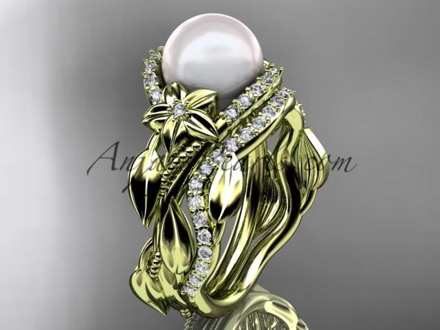Mariage - 14kt yellow gold diamond pearl unique engagement set AP326S