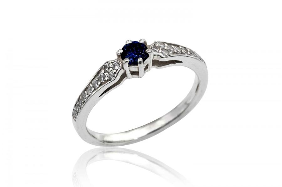 Mariage - Sapphire Engagement Ring, Art Nouveau Sapphire and Diamond Ring, Diamond Engagement Ring, Sapphire Ring, Fast  Free Shipping