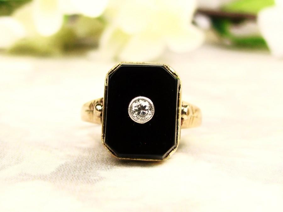 Wedding - Art Deco Diamond & Onyx Ring Antique Art Deco Engagement Ring 10K Gold Filigree Antique Diamond Wedding Ring Size 5!