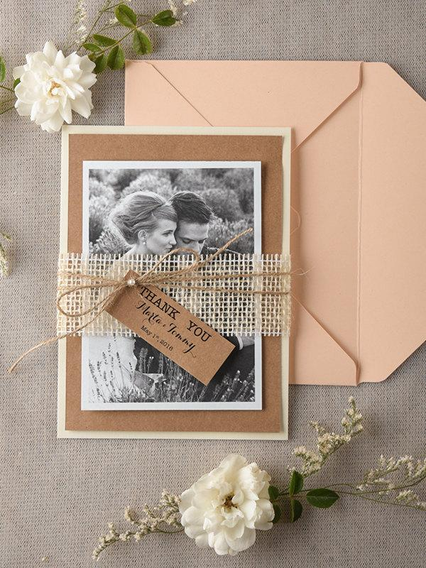 Personalised Wedding Thank You Card Set Of 20 Rustic Cards Peach Craft Eco