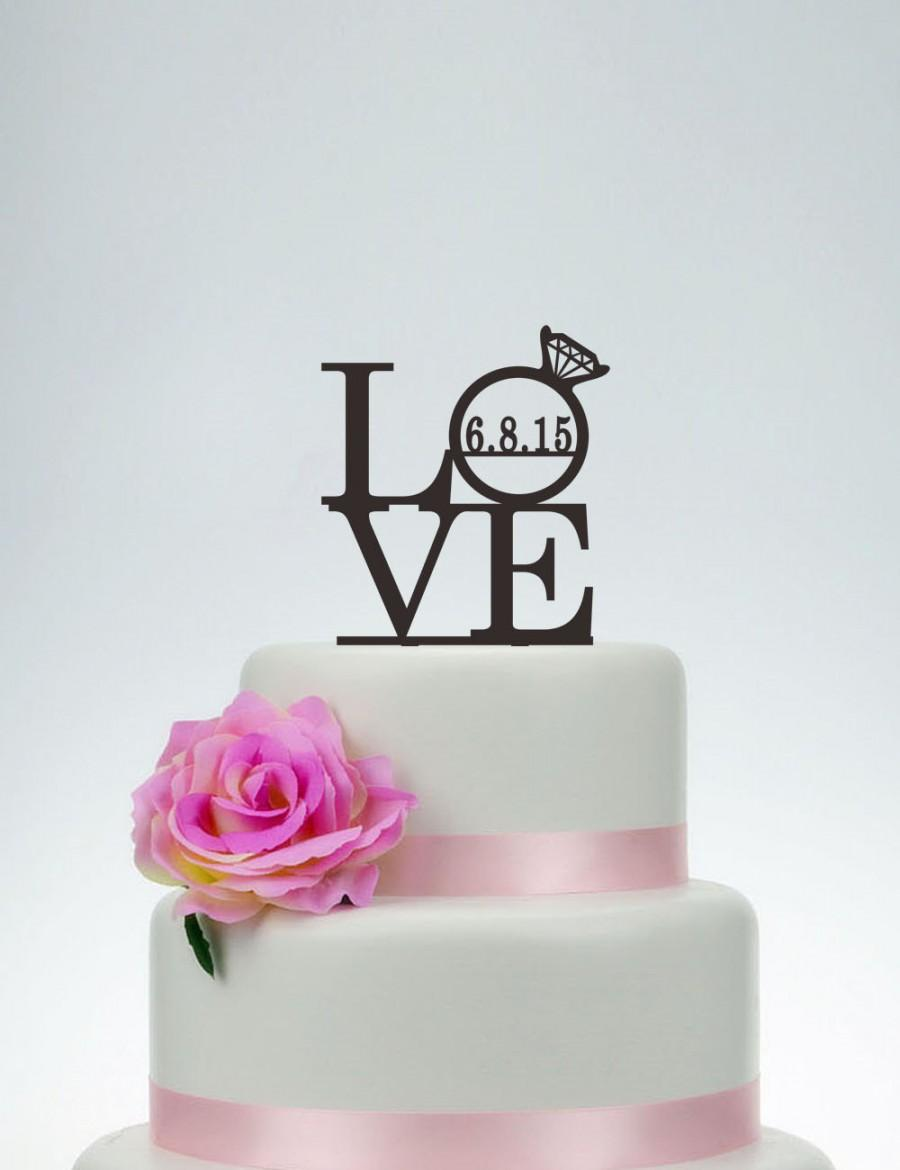 I Love Cake Design Puntata 3 : Love Cake Topper,Wedding Cake Topper,Love Topper With Date ...
